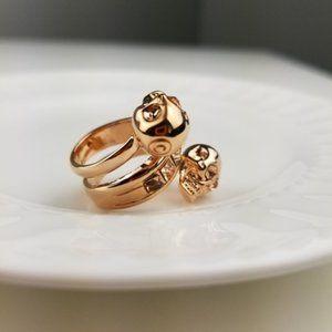 Alexander McQueen Crystal Spiral Skull Ring 6.75